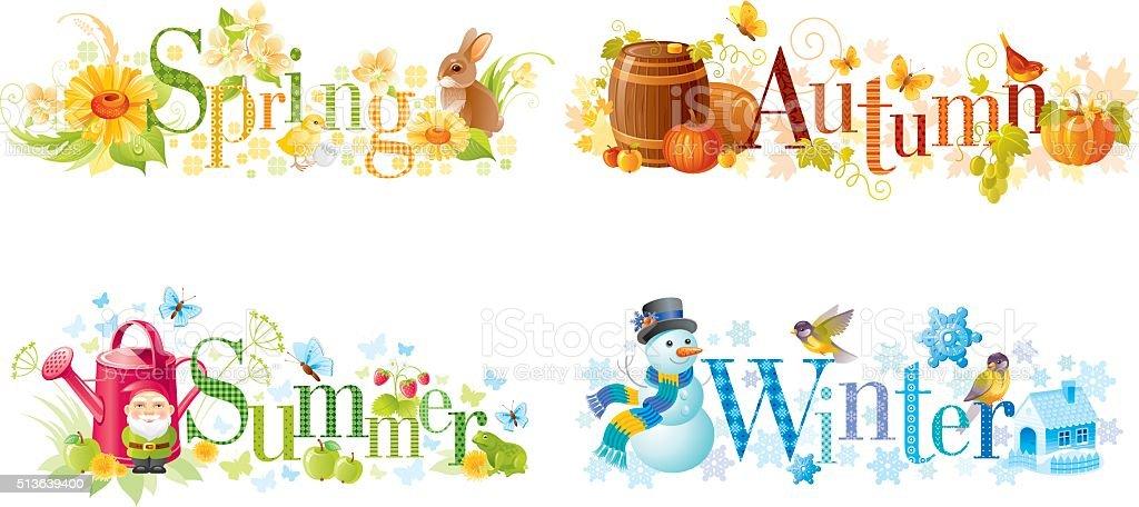 Four seasons: Spring, Summer, Autumn, Winter text banners vector art illustration