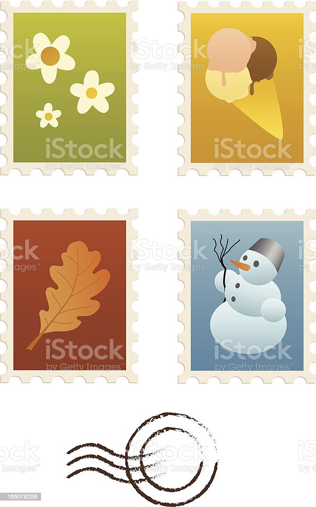 Four Seasons Stamp Set royalty-free stock vector art