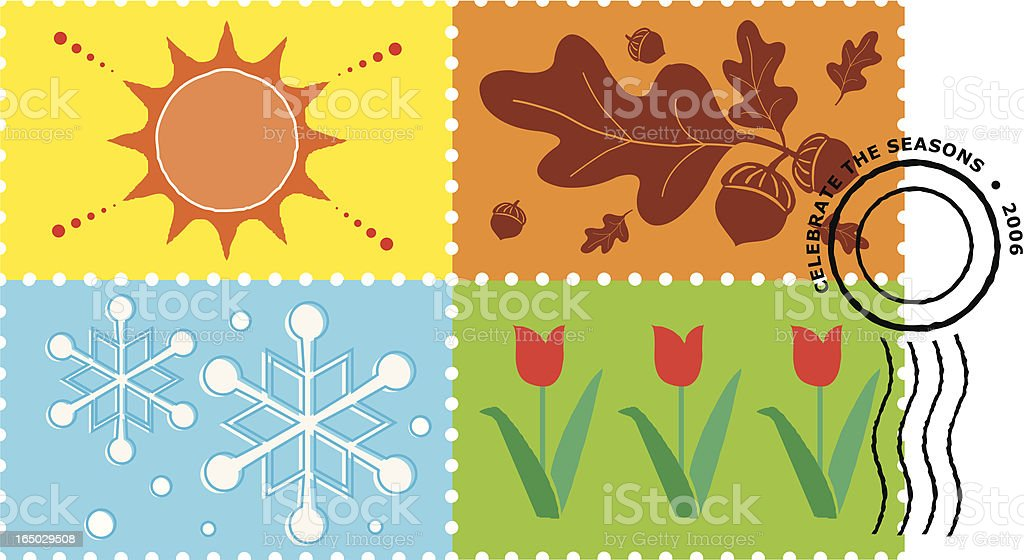 four seasons stamps royalty-free stock vector art