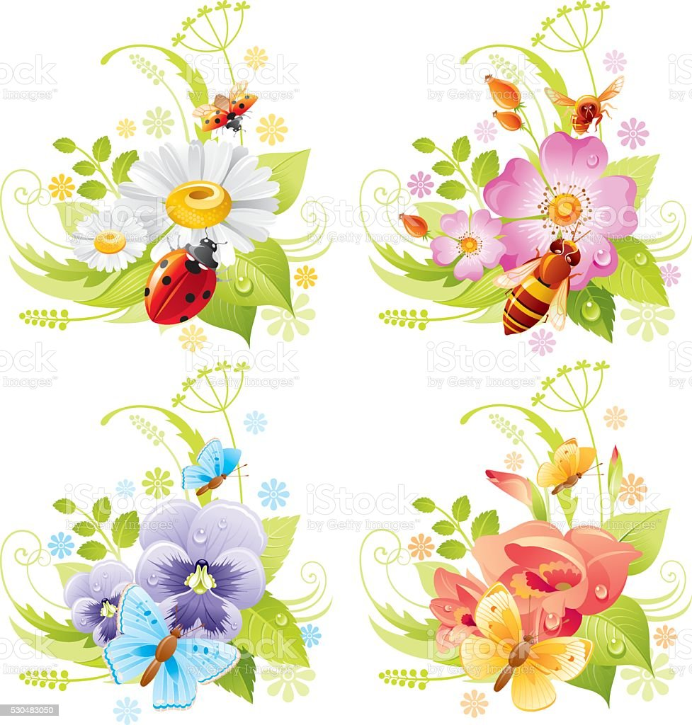 Four seasons: Summer banner set vector art illustration