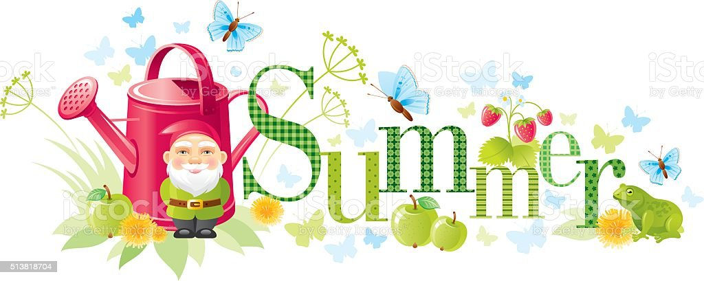 Four seasons: Summer banner vector art illustration