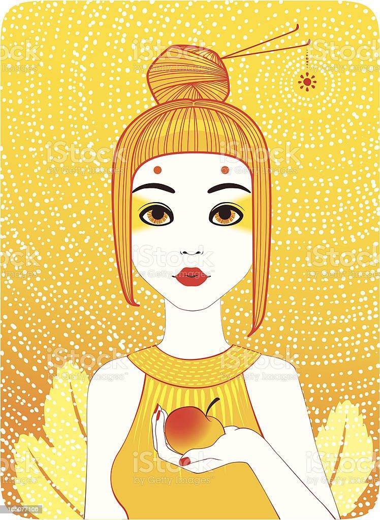 Four Seasons - Summer girl vector art illustration