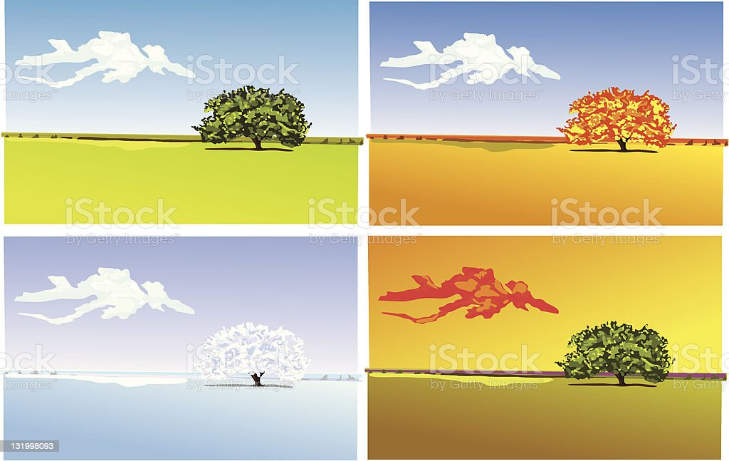 Four seasons royalty-free stock vector art