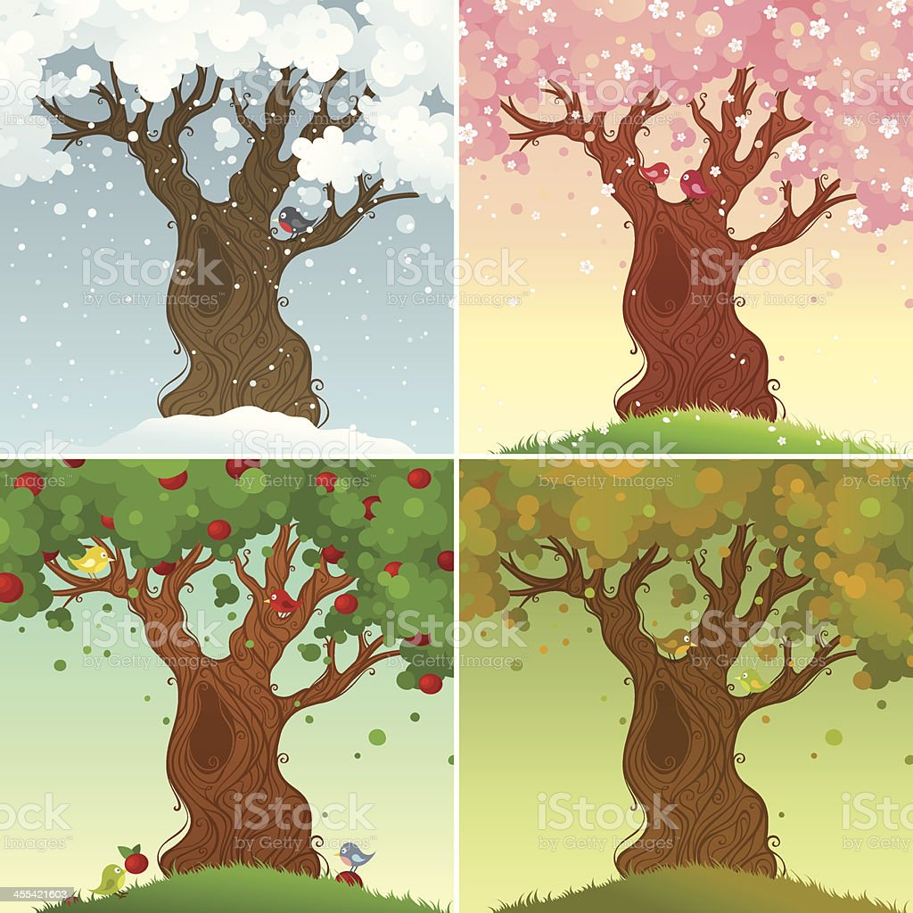 Four seasons vector art illustration