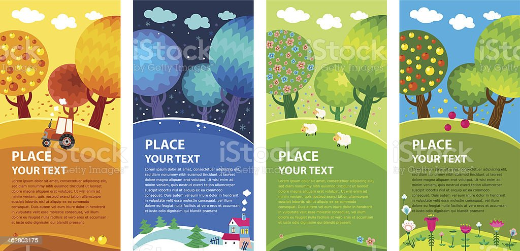 Four seasons. Vector. vector art illustration