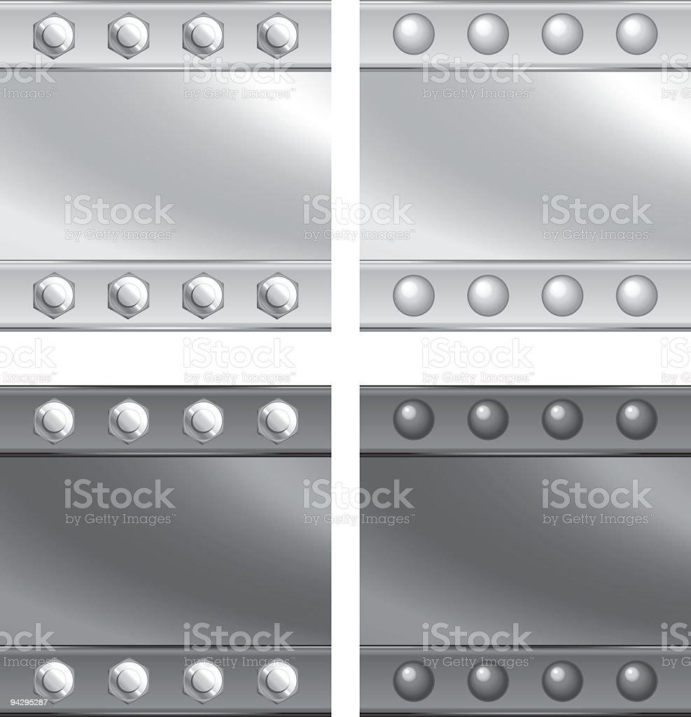 Four sectors of vectorized metal vector art illustration