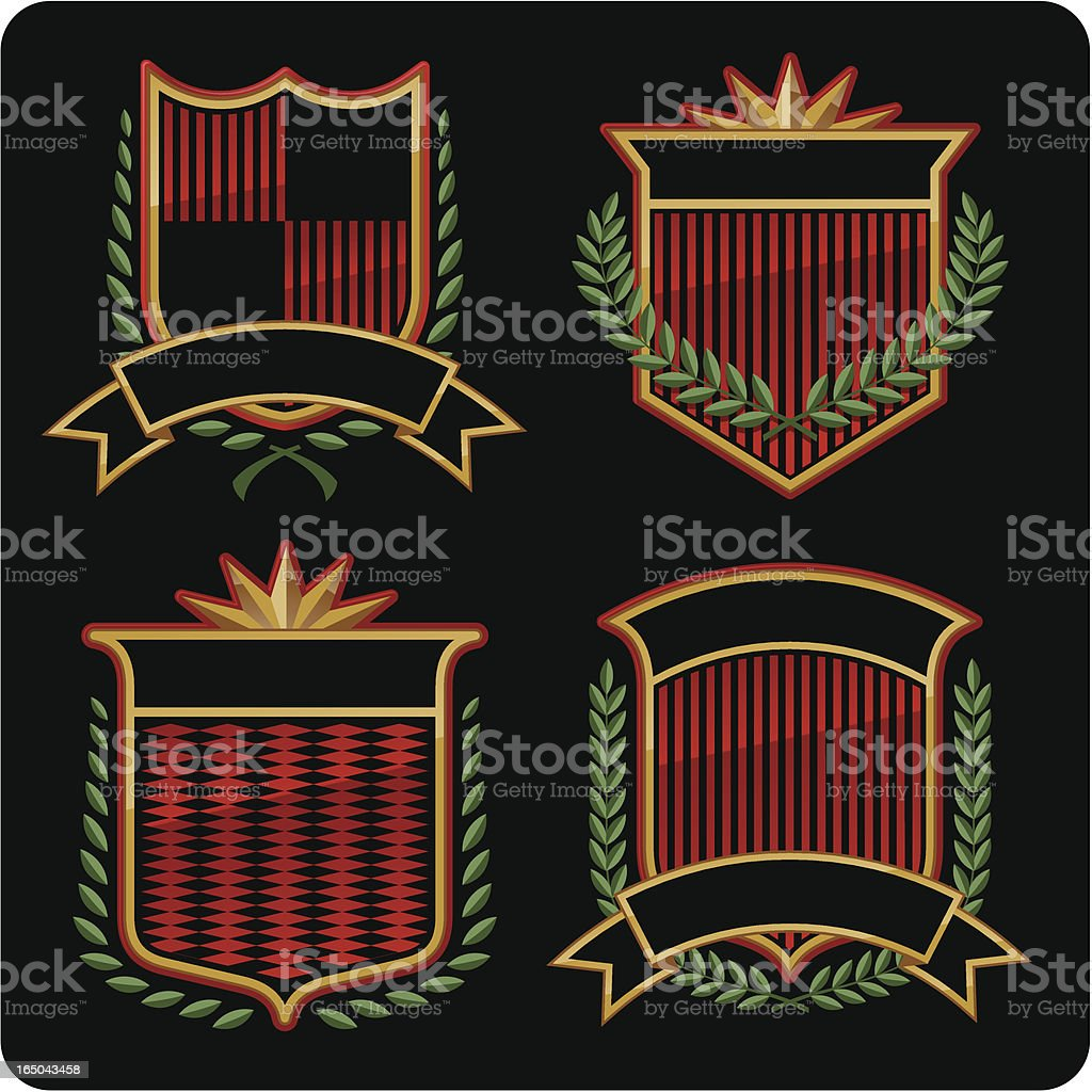 Four Shields - Red royalty-free stock vector art