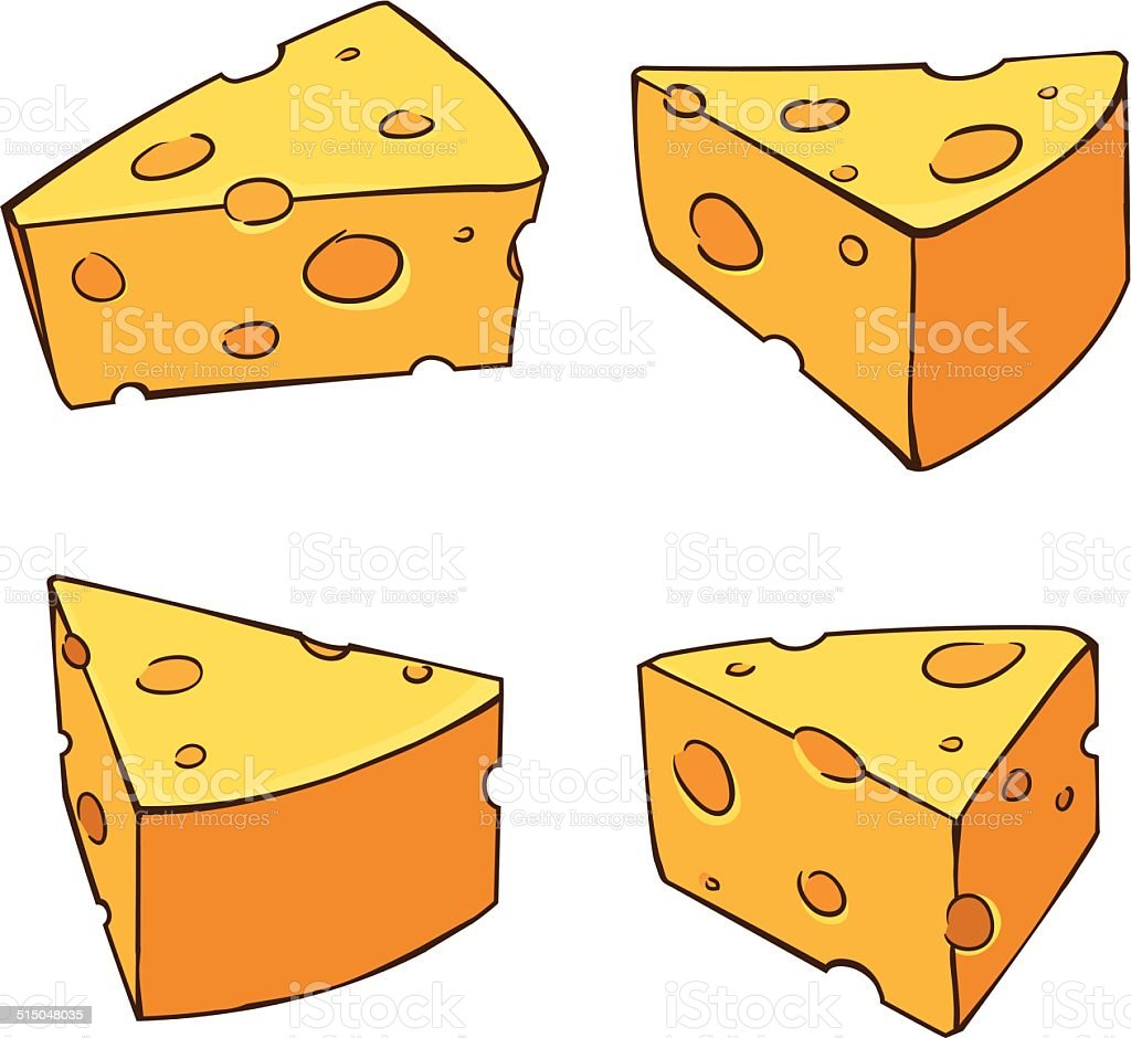 Four sides yummy cheese comic style royalty-free stock vector art