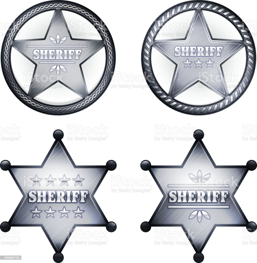 Four silver sheriff badges in white square. royalty-free stock vector art