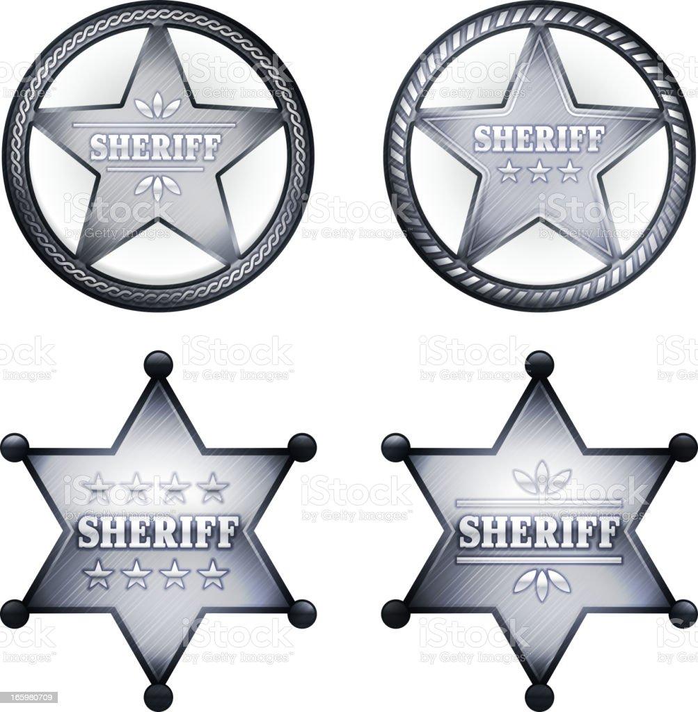 Four silver sheriff badges in white square. vector art illustration