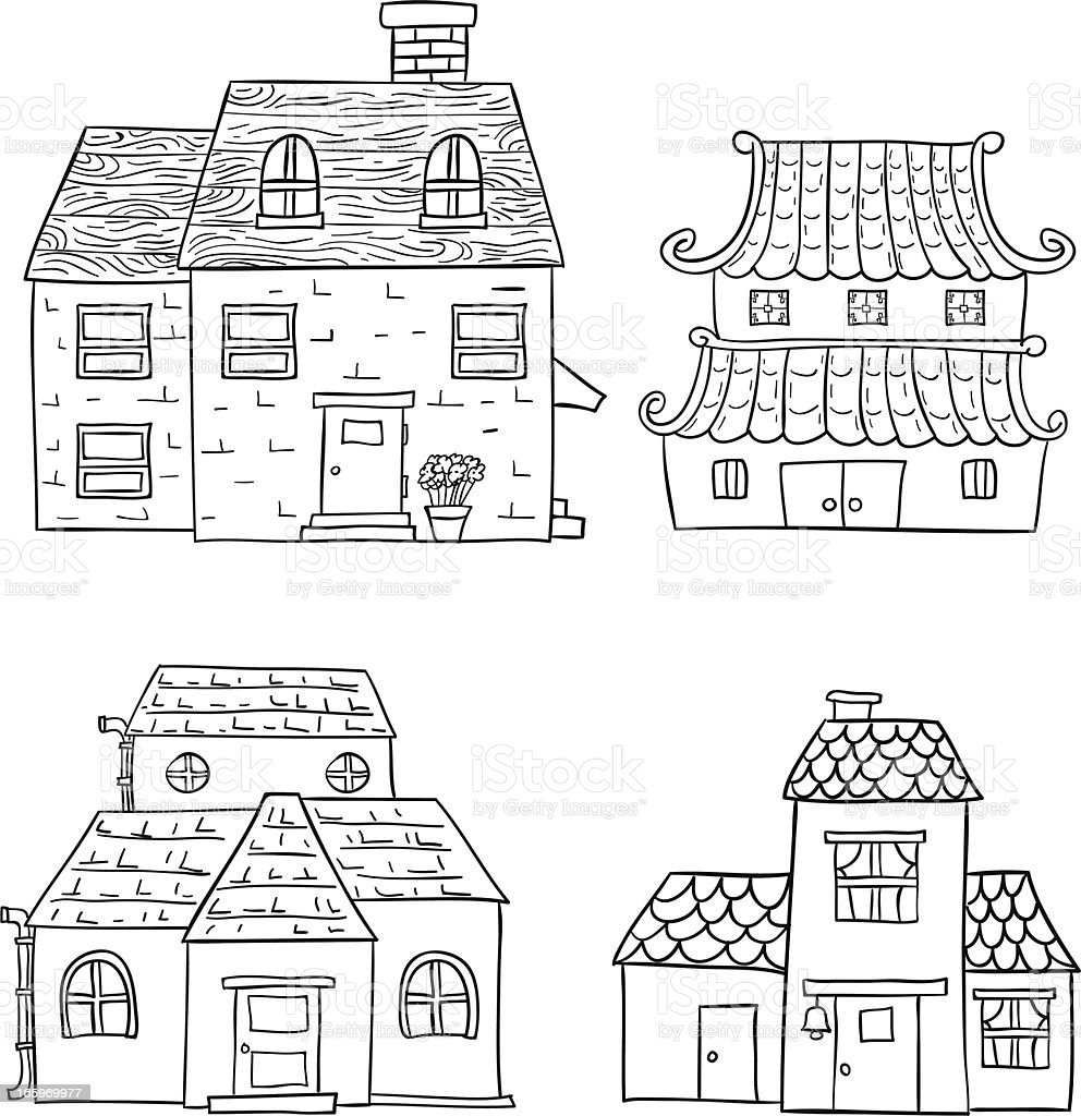 Four simplistic drawings of houses vector art illustration