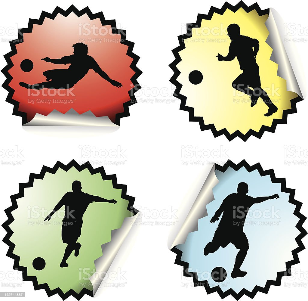 Four soccer stickers royalty-free stock vector art