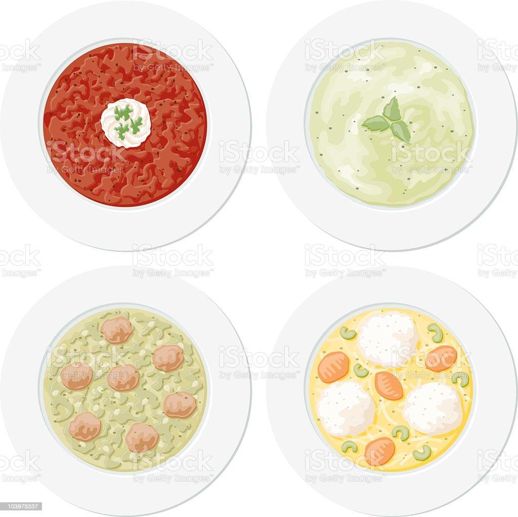 Four Soup Plates vector art illustration