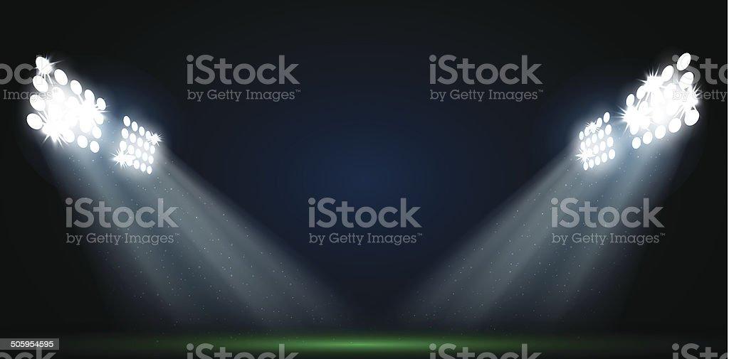 Four spotlights on a football field vector vector art illustration