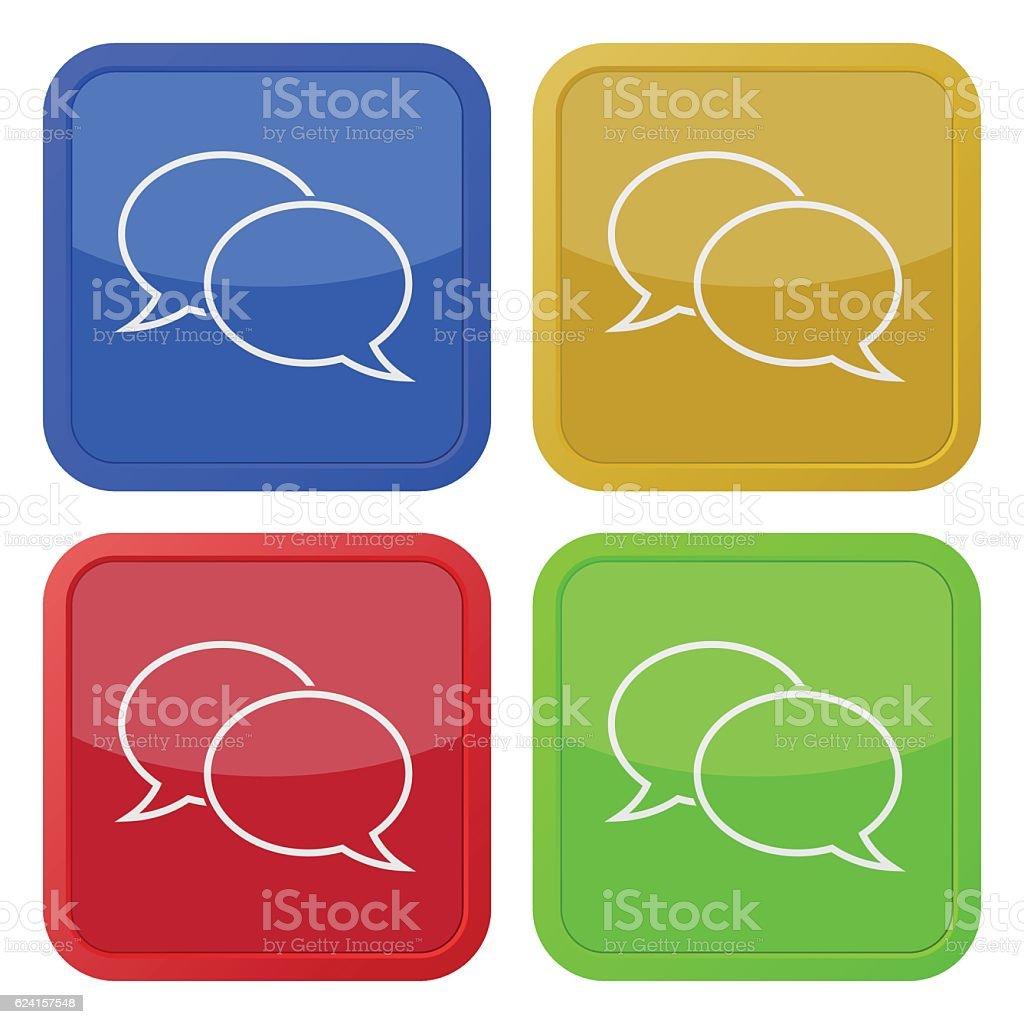four square color icons, speech bubbles vector art illustration