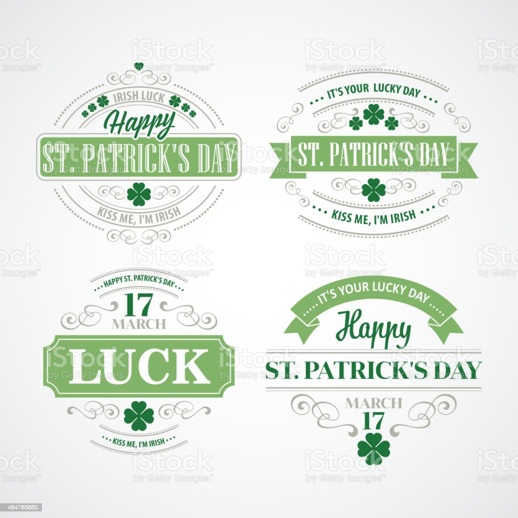 Four St. Patrick's Day stickers vector art illustration