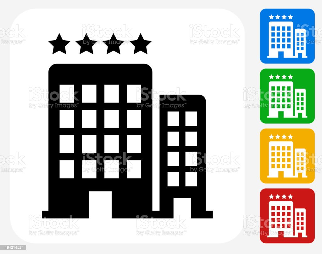 Four Star Hotel Icon Flat Graphic Design vector art illustration