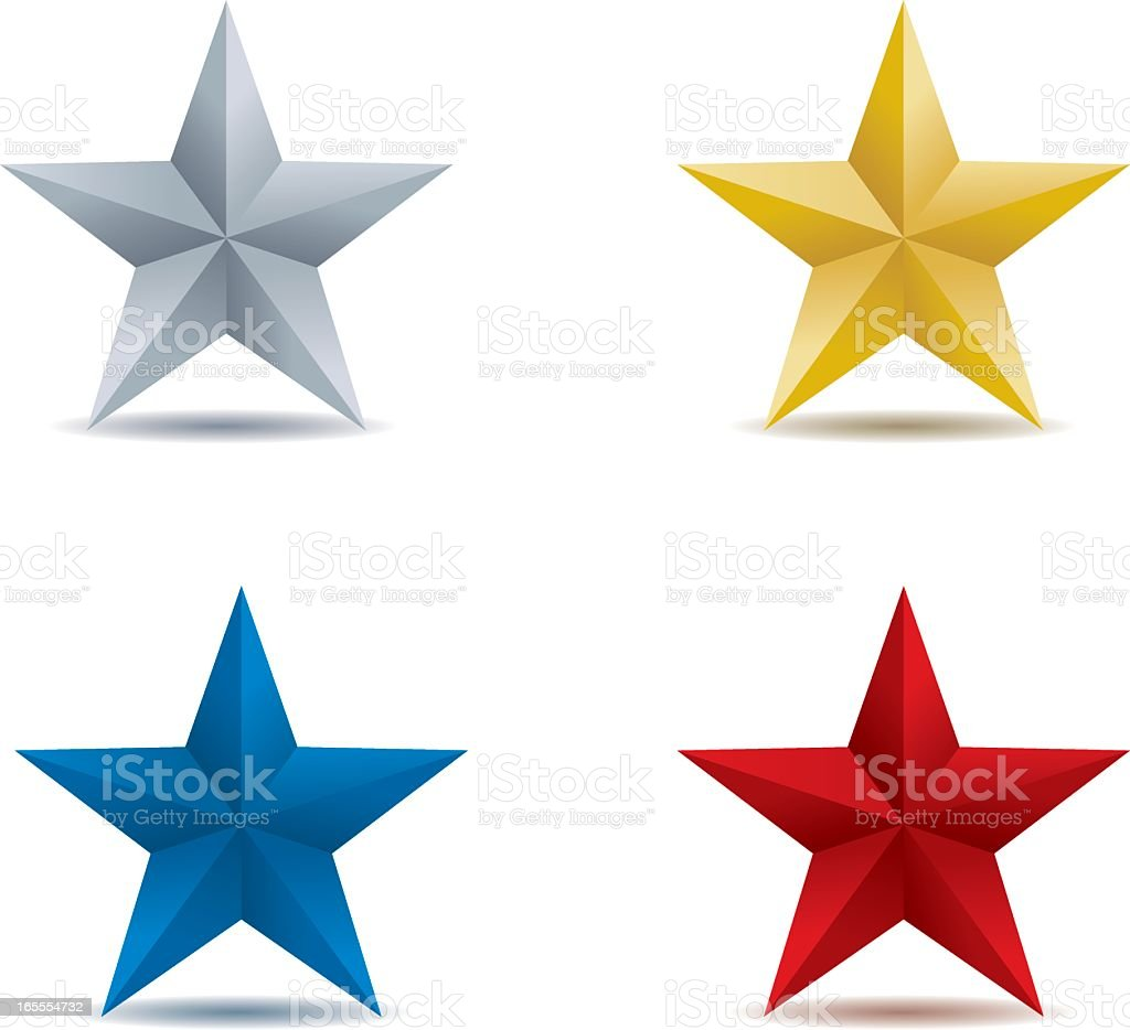 Four stars in different colors vector art illustration