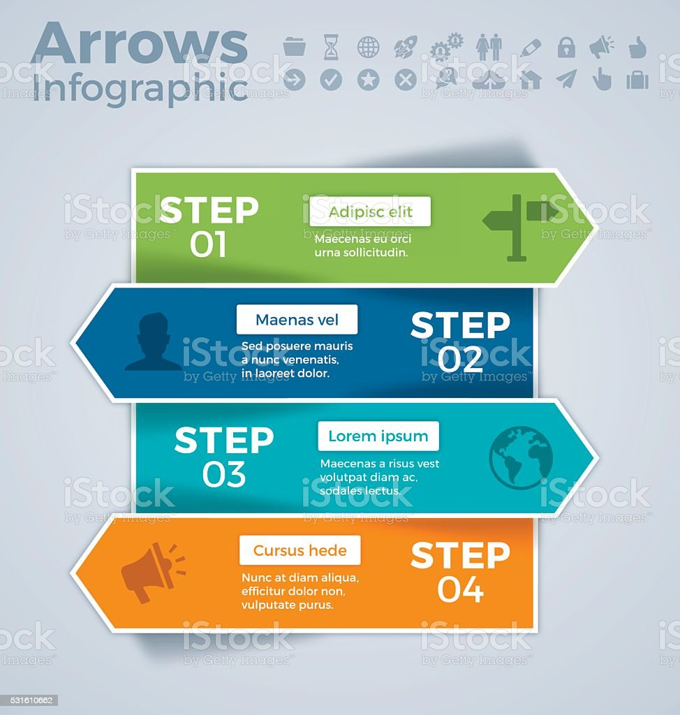 Four Step Arrows Infographic Concept vector art illustration