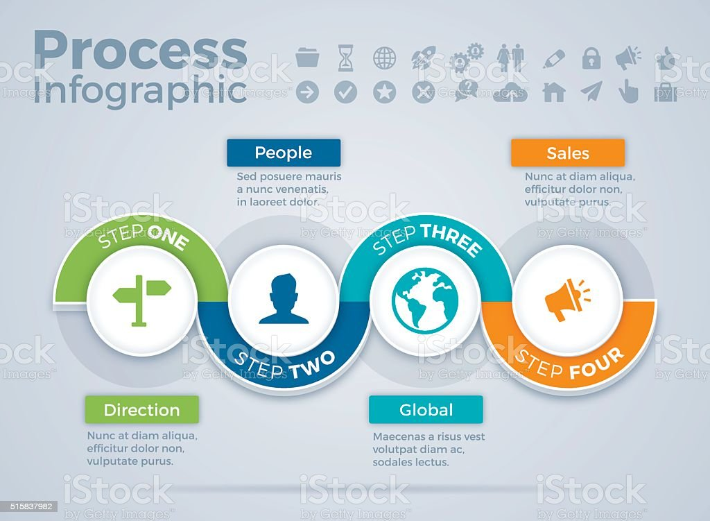 Four Step Process Infographic vector art illustration