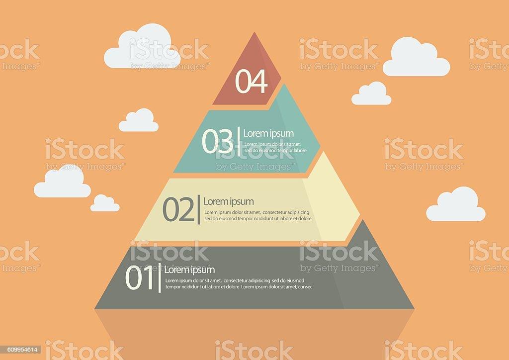 Four Step Pyramid Diagram vector art illustration