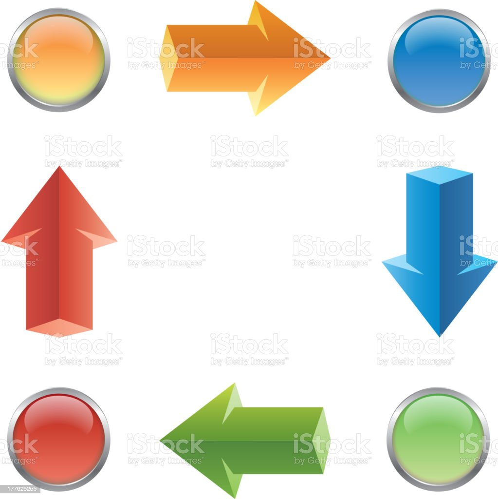 Four steps arrow and button royalty-free stock vector art