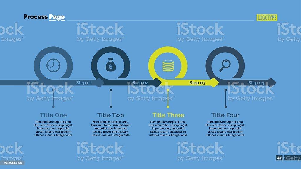Four Steps Timeline Slide Template vector art illustration