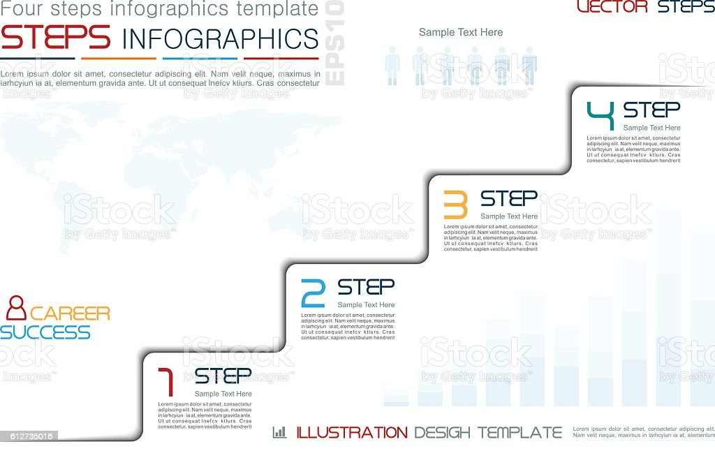 Four Steps to Success Infographic Template vector art illustration