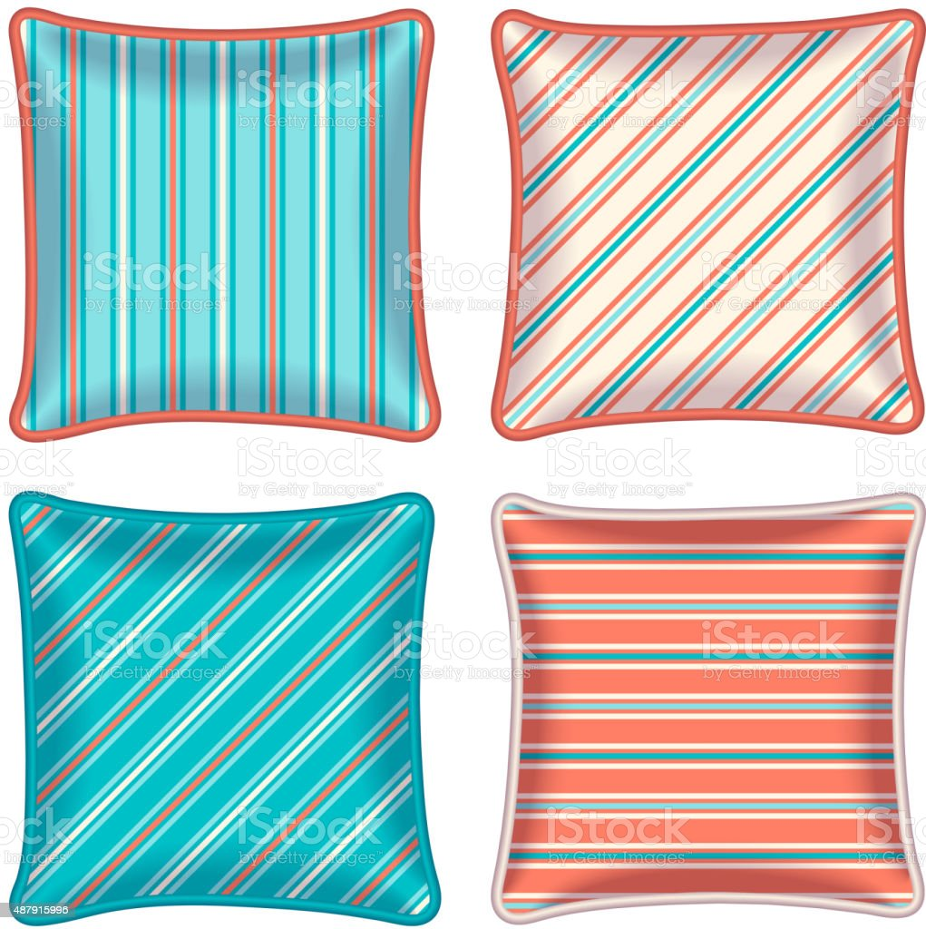 Four striped throw pillows vector art illustration