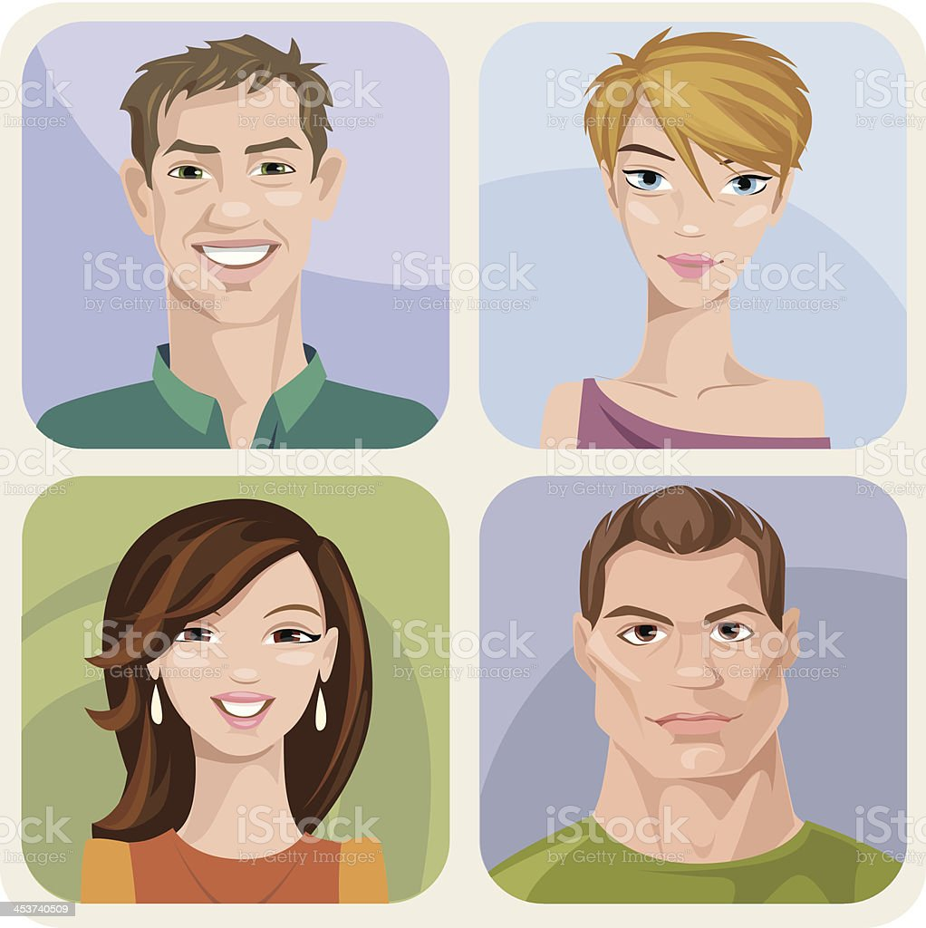 Four style male and female portraits with different emotions. vector art illustration