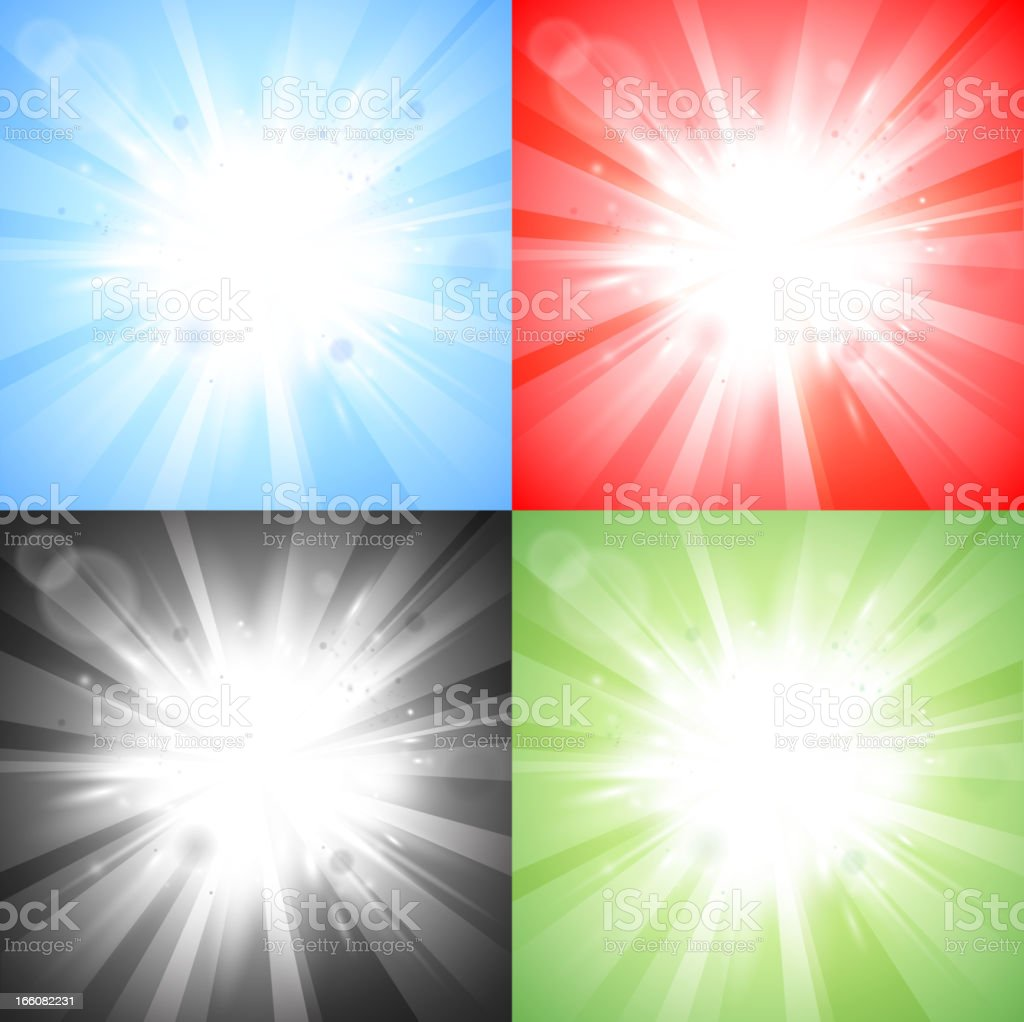 Four sun bursts on different colored backgrounds royalty-free stock vector art