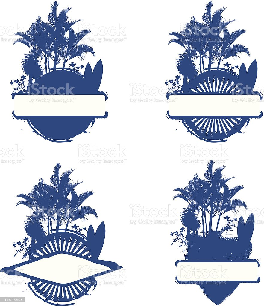 four surf shield with palms and table royalty-free stock vector art