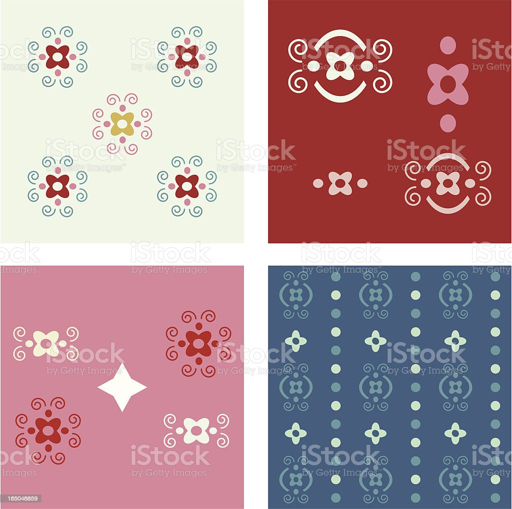 Four Sweet Seamless Wallpaper Pattern Backgrounds royalty-free stock vector art