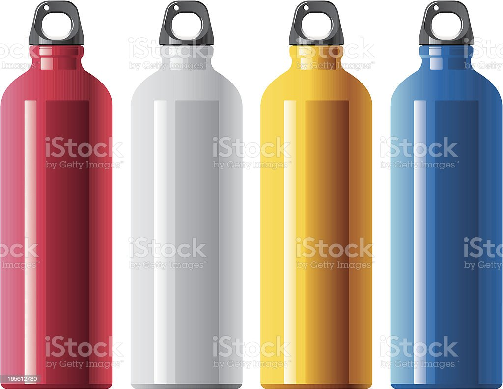 Four tall aluminum water bottles in different colors royalty-free stock vector art