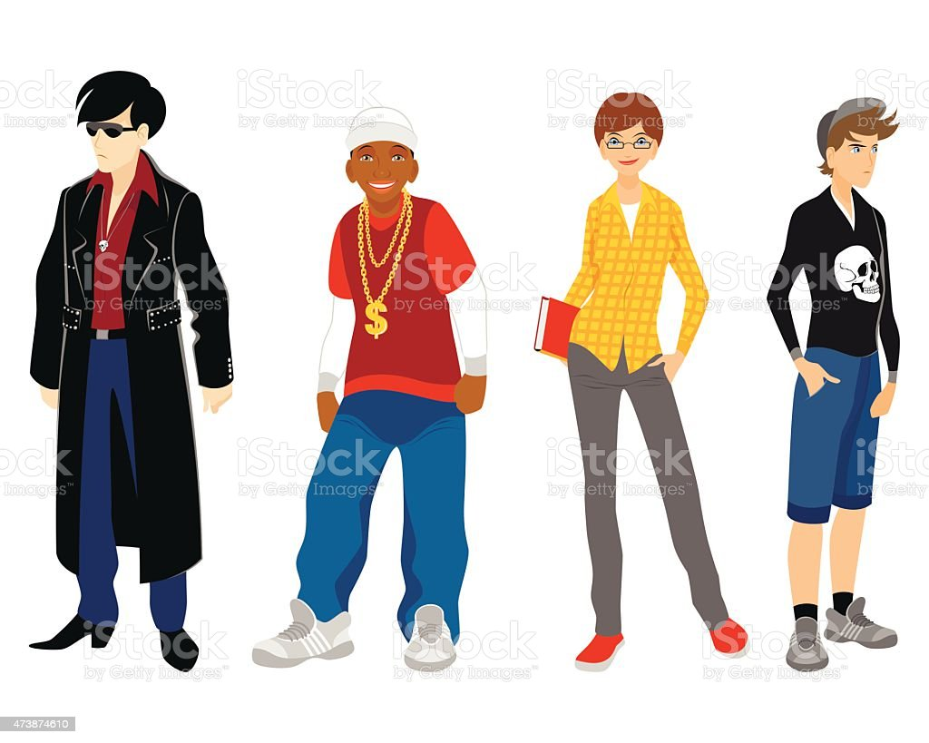 Four teenagers set vector art illustration