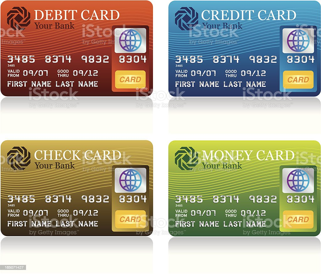 Four templates for magnetic payment cards royalty-free stock vector art