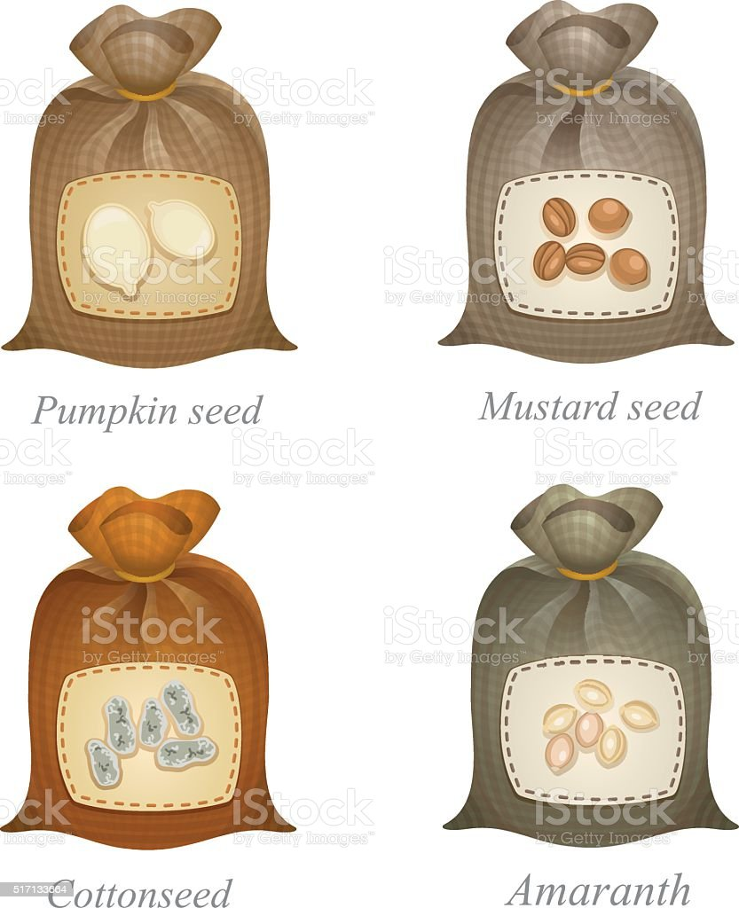 Four tied sacks with cereal and oilseeds labels on them vector art illustration