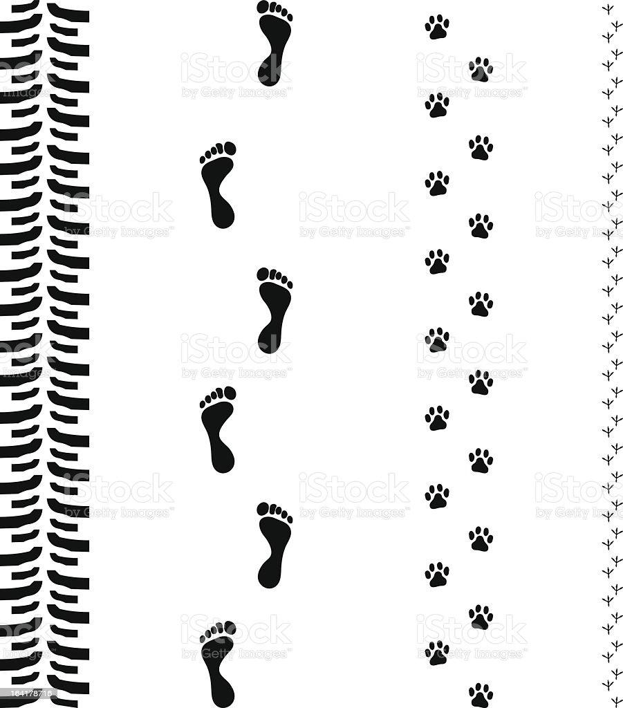 four track sets vector art illustration