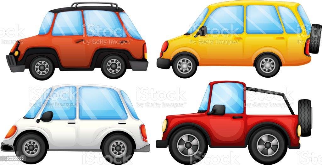 Four transportation devices vector art illustration
