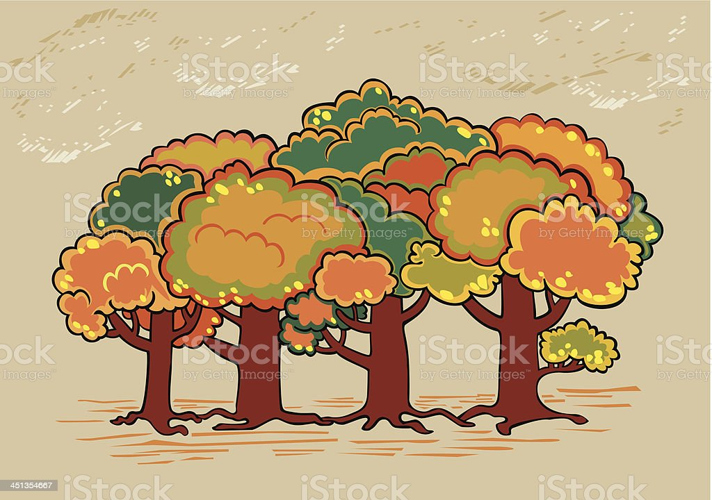 Four trees in autumn time royalty-free stock vector art