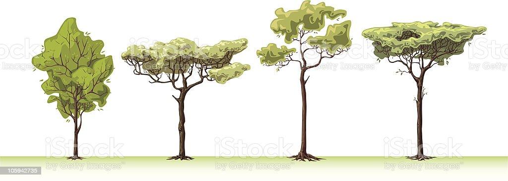 Four trees. vector art illustration