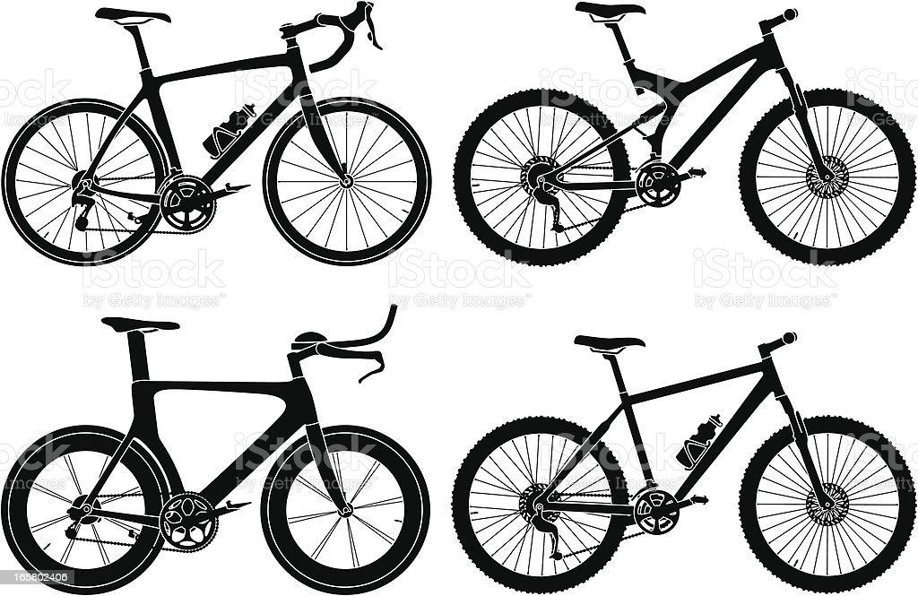 Four Types of Bikes vector art illustration
