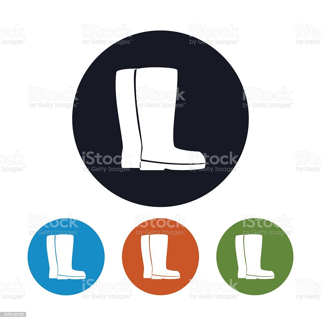 Four Types of Icons Working Rubber Boots vector art illustration
