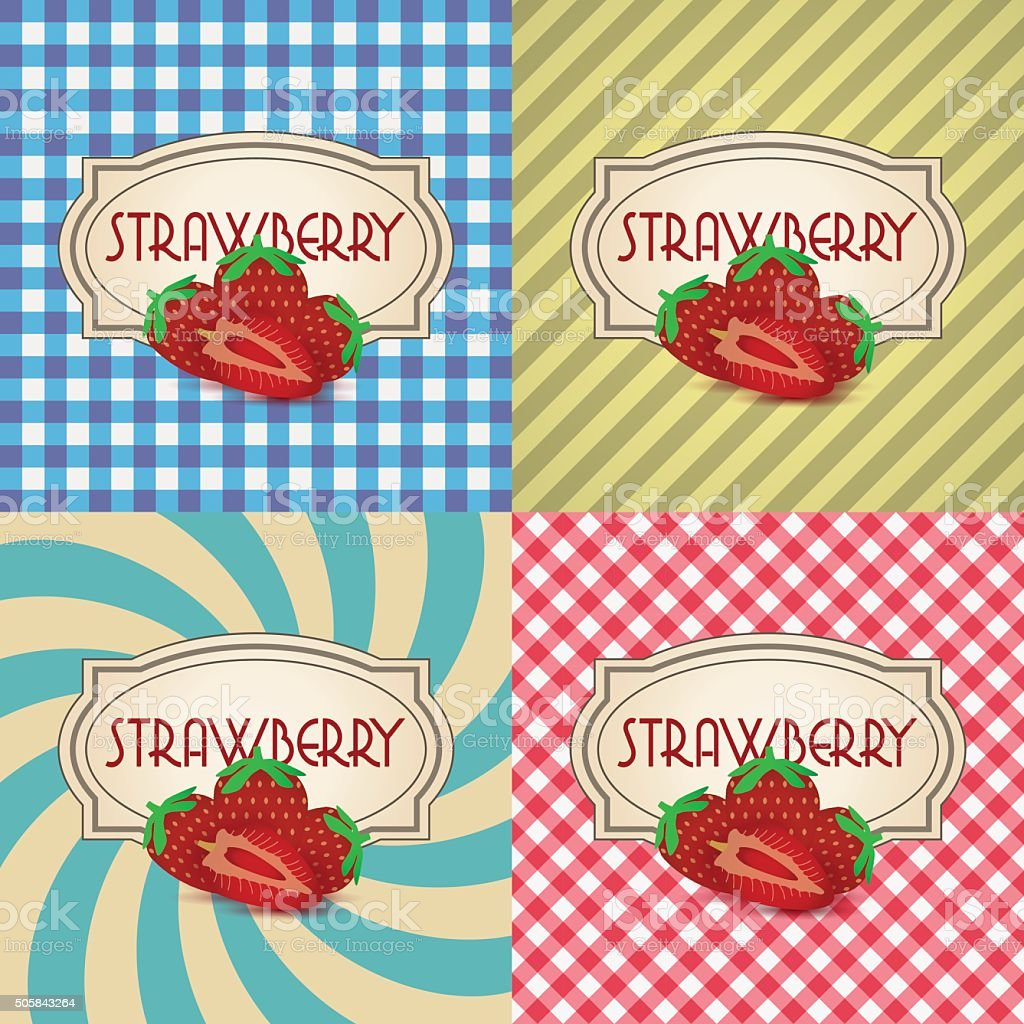 four types of retro textured labels for strawberry products eps10 vector art illustration