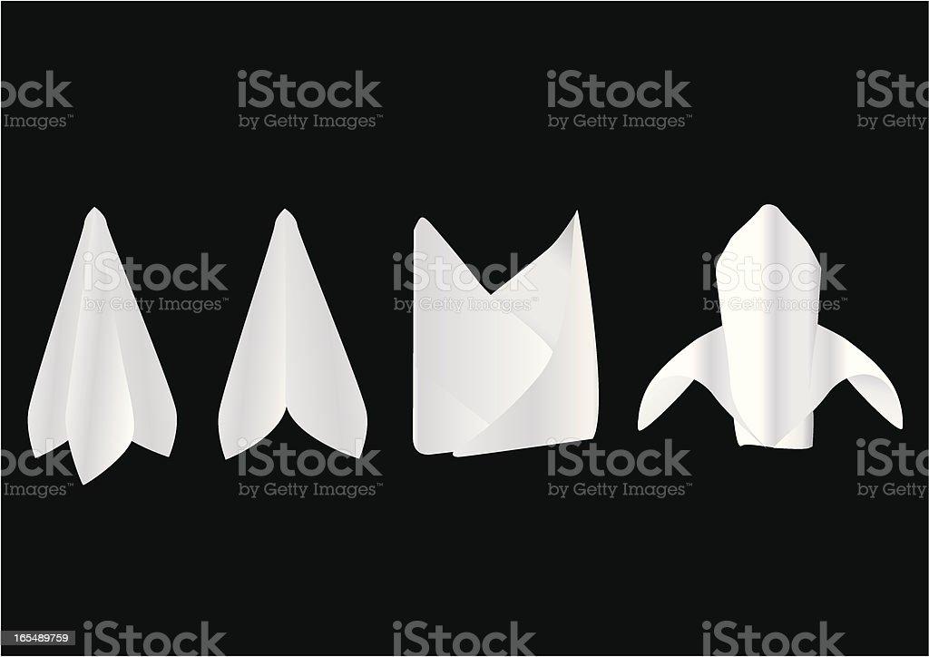 Four types of serviettes vector art illustration
