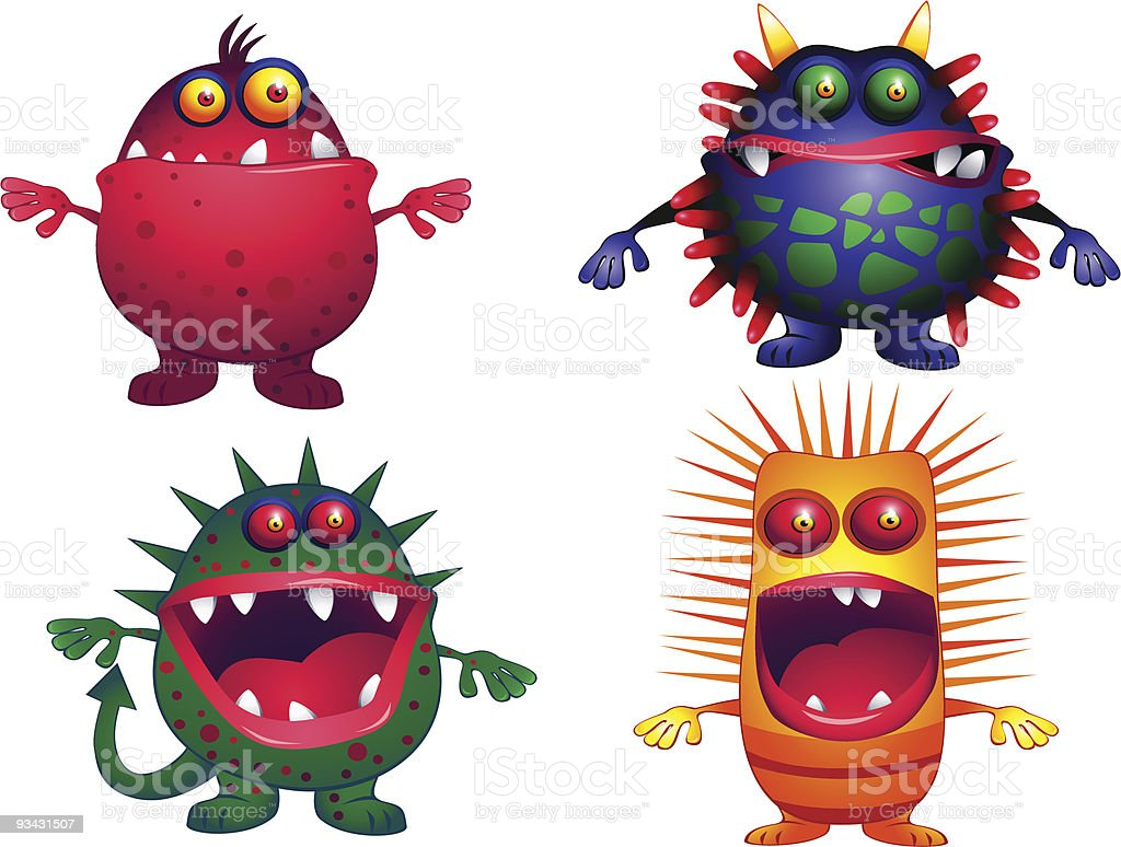 Four ugly creature royalty-free stock vector art