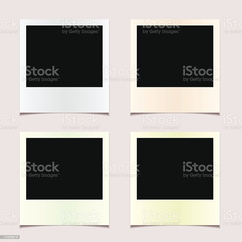 Four undeveloped Polaroid photos vector art illustration