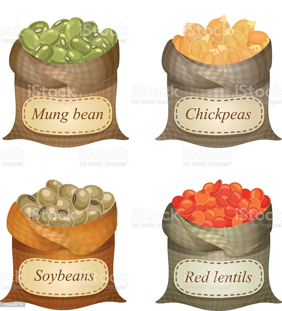 Four untied sacks with beans, lentils and labels on them vector art illustration