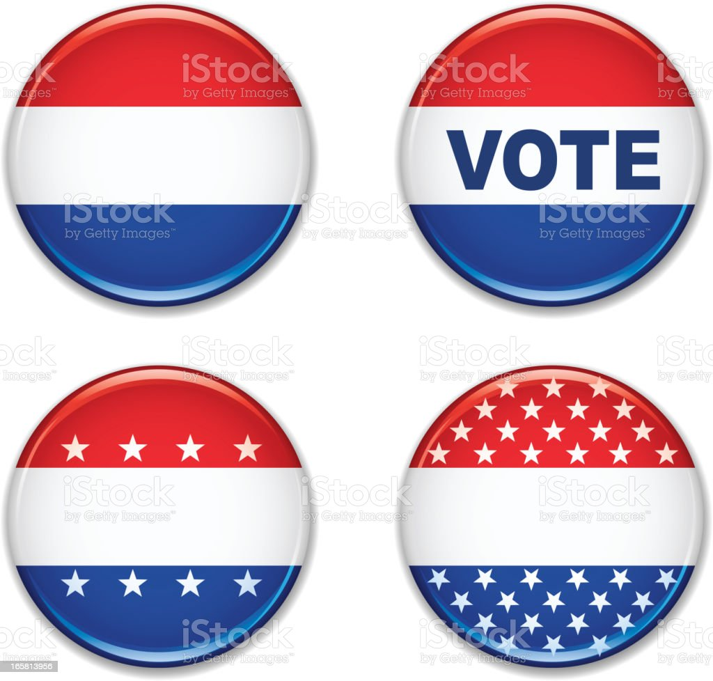Four variations of election badges from simple to elaborate royalty-free stock vector art
