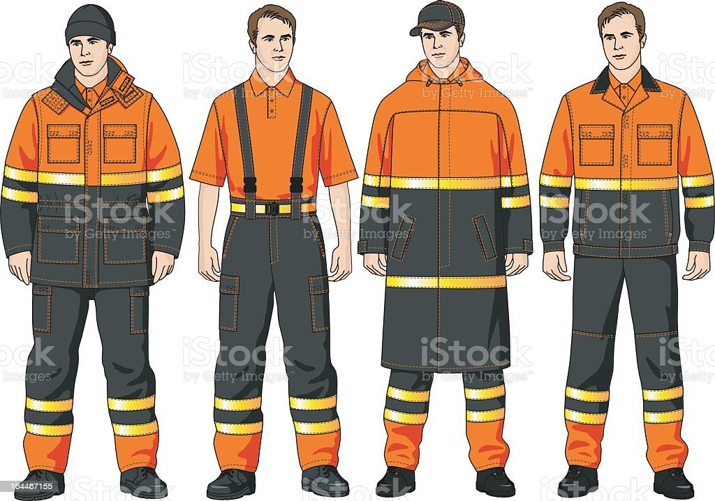 Four varieties of fire men's clothing  royalty-free stock vector art